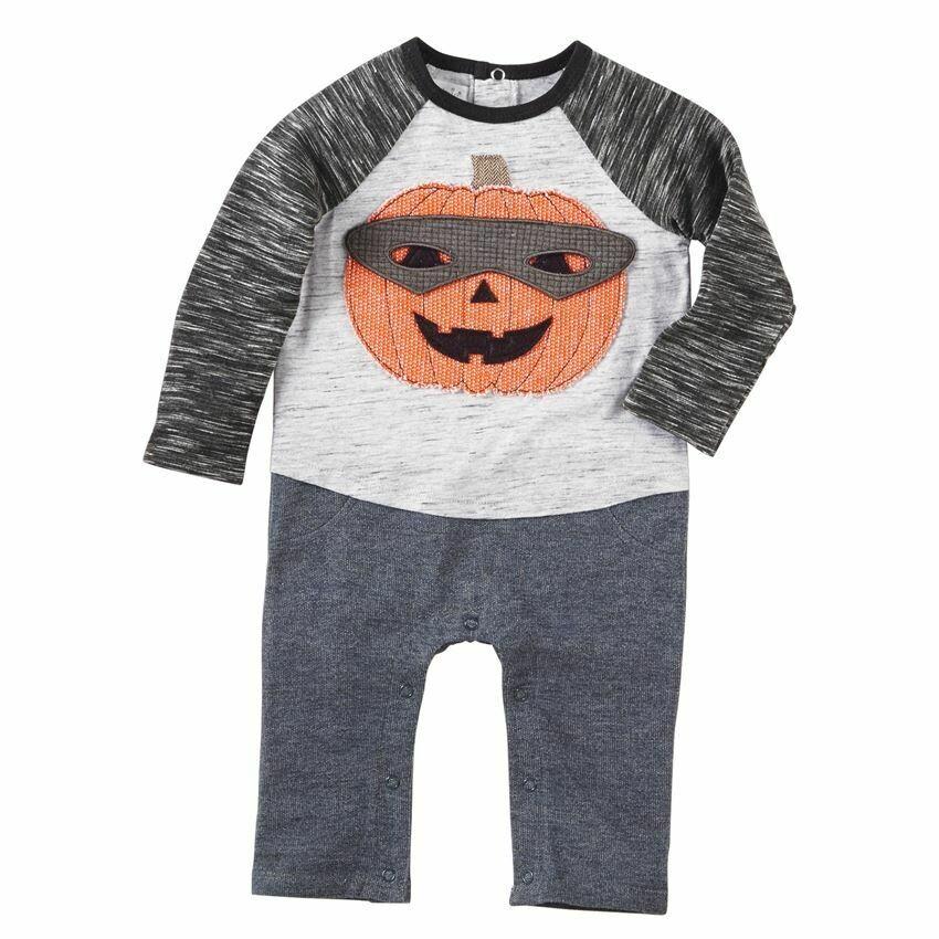 Masked Pumpkin Romper 3/6m