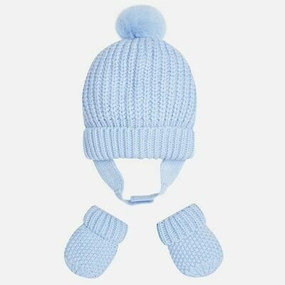 Blue Hat & Mitten Set 9608 - 6m