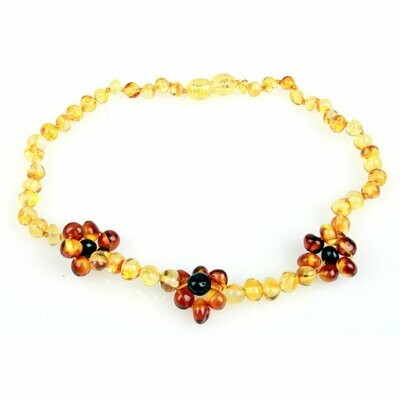 Honey/Cognac Flower Amber Necklace