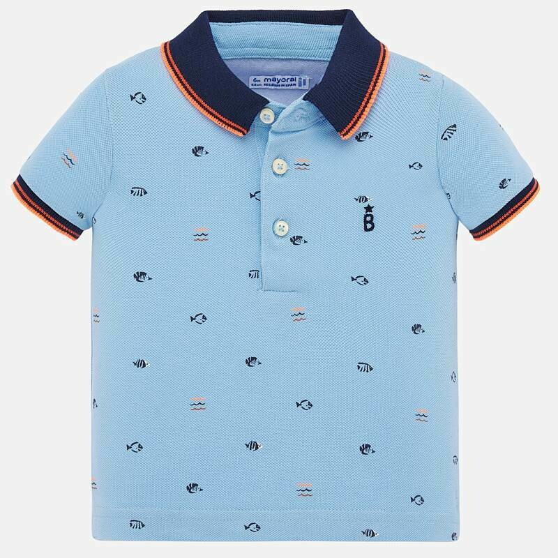 Fish Print Polo Shirt 1153 9m