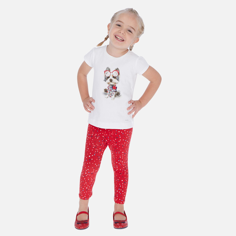 Red Print Leggings Set 3718 8