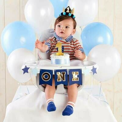 Blue & Gold 1st Birthday Decor Set