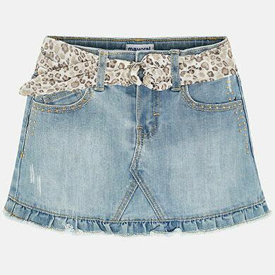 Bleached Denim Skirt 3903 5