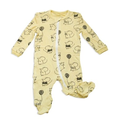 Bamboo Mouse Print Footie WF4102