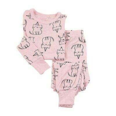 Pink Cat Print PJ Set WF4103