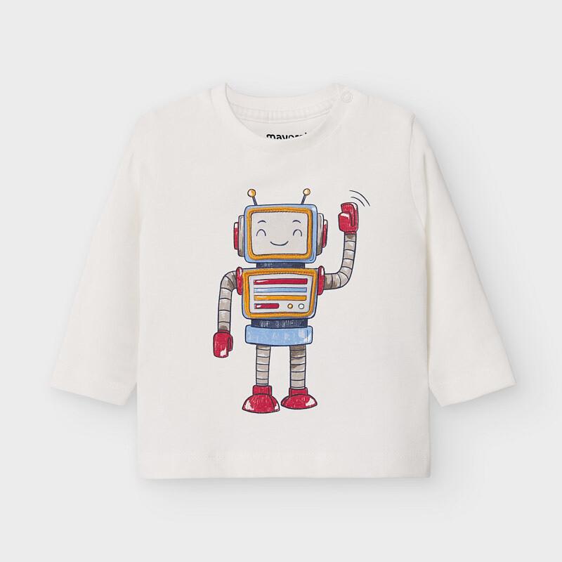 White  Robot LS Shirt 2040