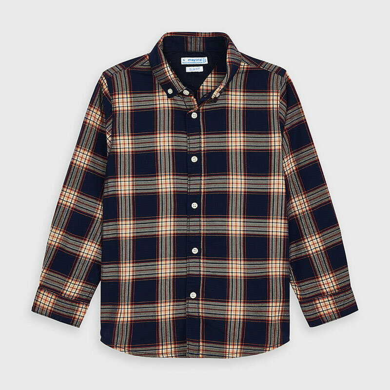 LS Navy Plaid Shirt 4147