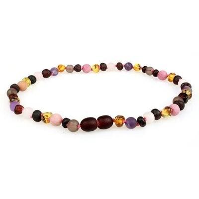 Gemstone Quartz/Amethyst Amber Necklace
