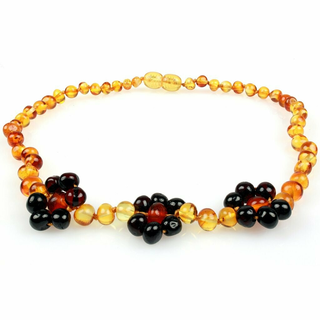 Honey/Cherry Flower Amber Necklace