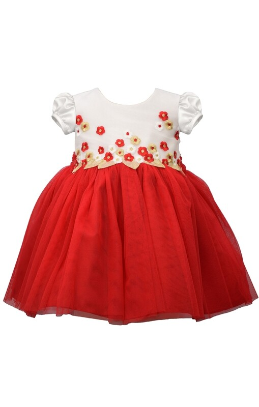 Embroidered Red Holiday Dress