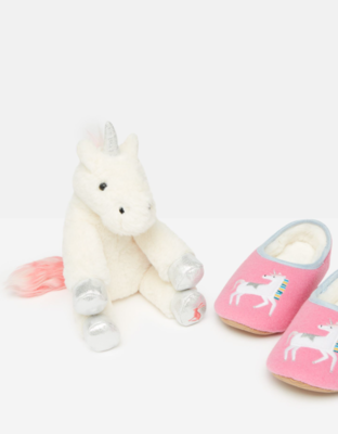 Unicorn Slippers & Toy Gift Set