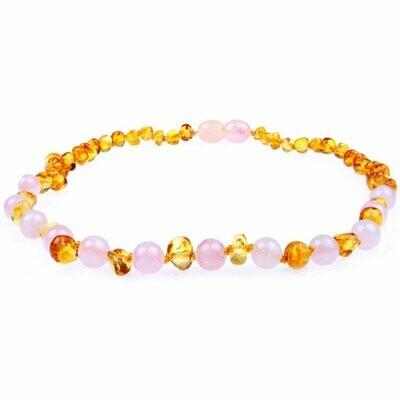 Rose Quartz Amber Necklace