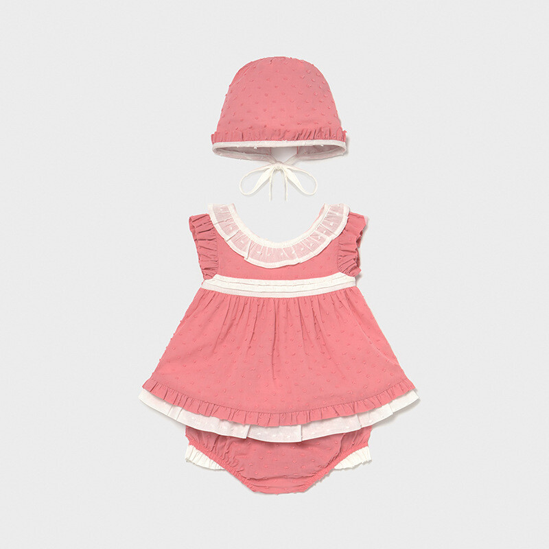 Dotted Swiss Dress And Bonnet Set 1170