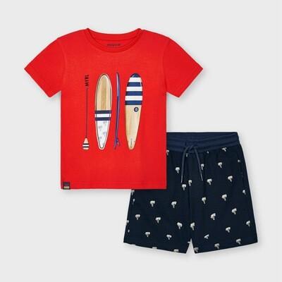 Red Paddleboard Shorts Set 3638