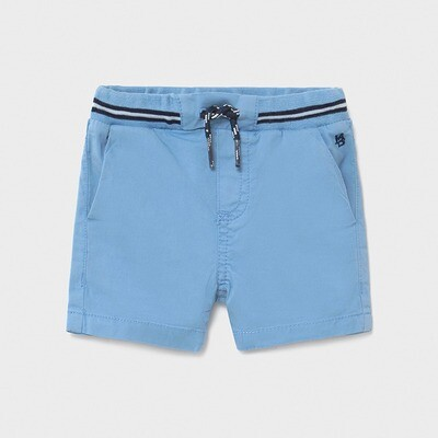 Blue Drawstring Twill Shorts