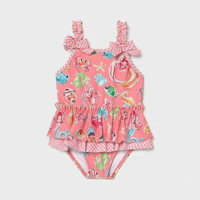 Tropical Print Ruffled Swimsuit 1719