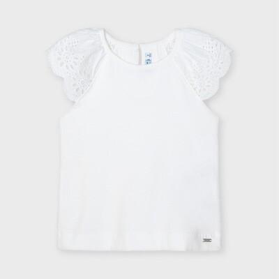 White Eyelet Sleeve Shirt 3026