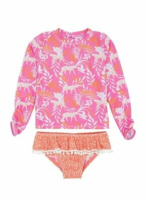 Baby Sandy Toes Ruffle Set - Coral