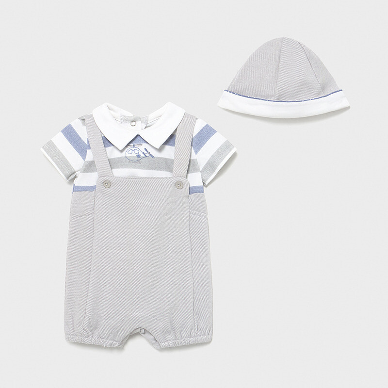 Grey Overall Romper Set 1624