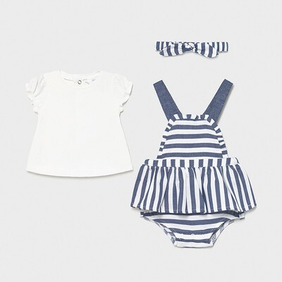 Striped Denim Overall Skirt Set 1814
