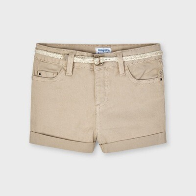 Tan Belted Twill Shorts 234