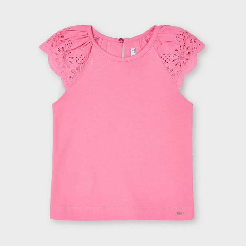 Pink Eyelet Sleeve Shirt 3026