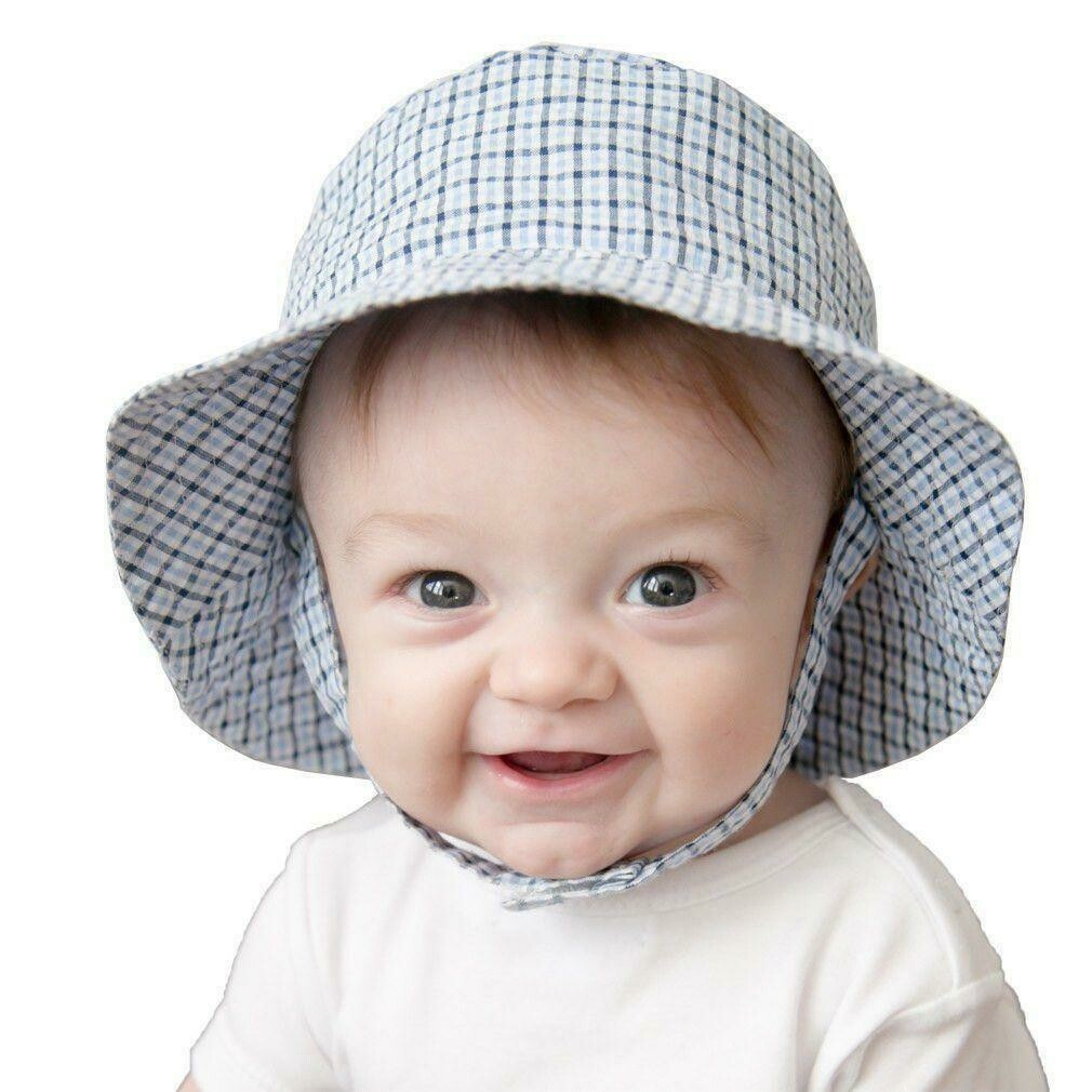 Blue Plaid Seersucker Bucket Hat
