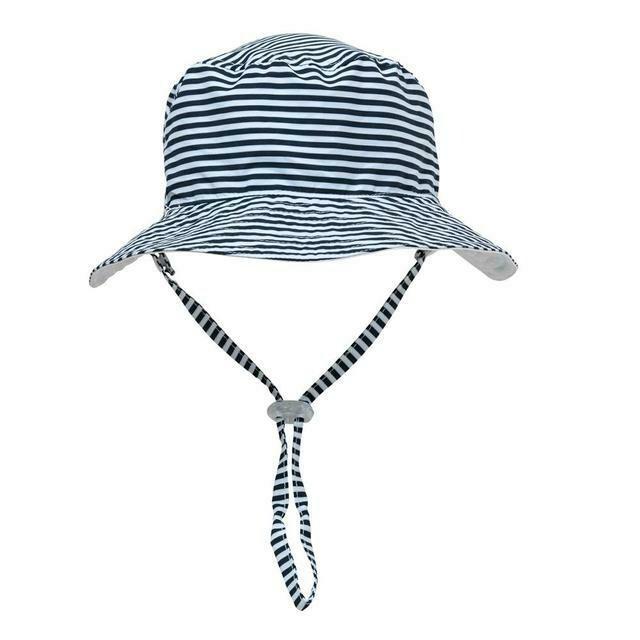 Navy Stripe Reversible  Bucket Hat - M