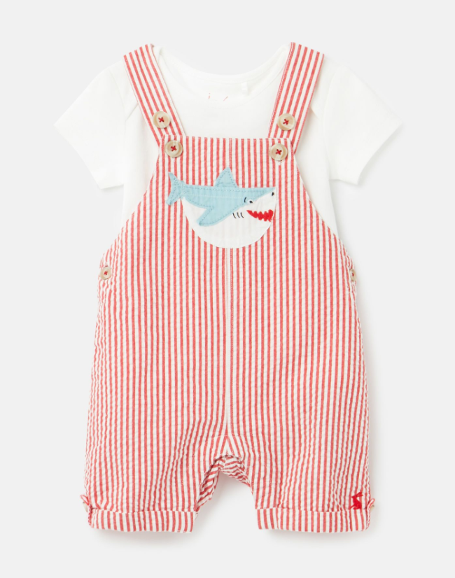 Red Stripe Overall Set
