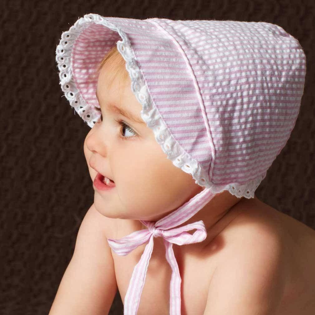 Pink Seersucker Bonnet