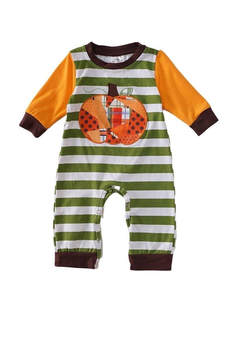 Striped Pumpkin Romper