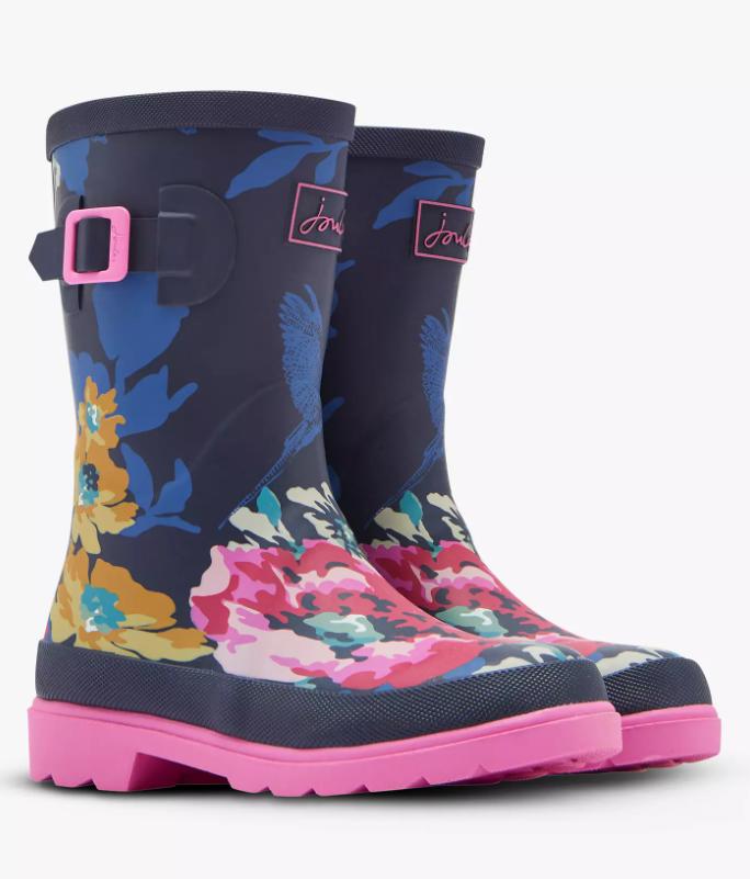 Dark Blue Floral Rain Boots - 1