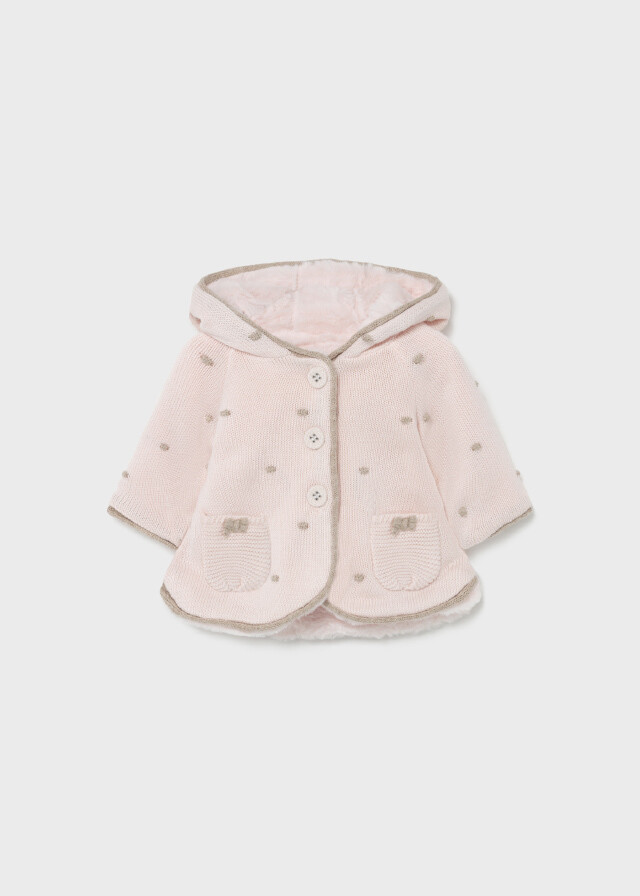 Pink Hooded Knit Jacket 2364