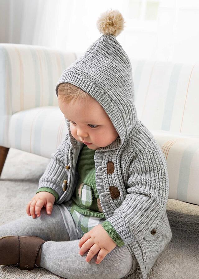 Grey Hooded Knit Jacket 2367