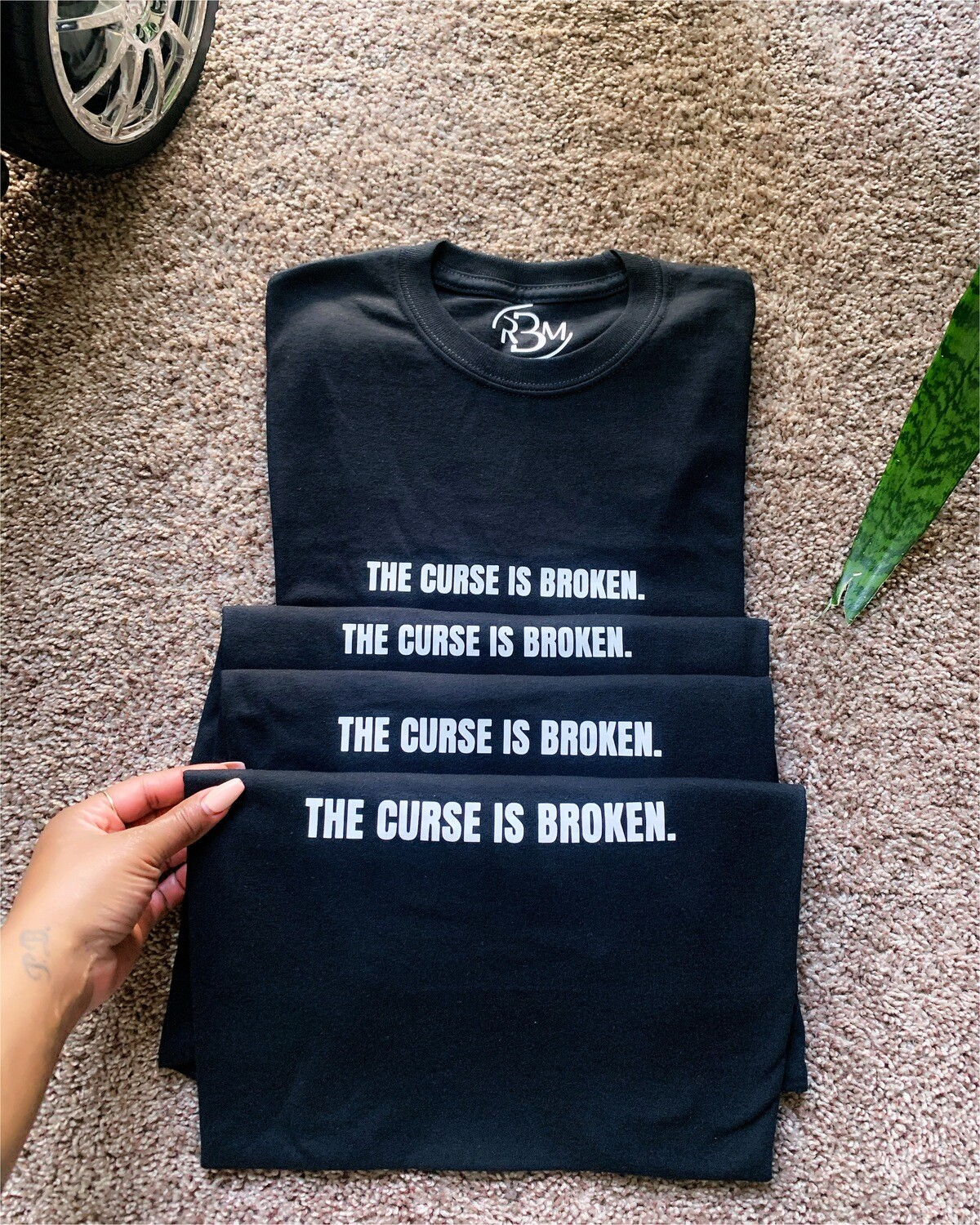 "BLACK ""THE CURSE IS BROKEN."" ADULT TEE"