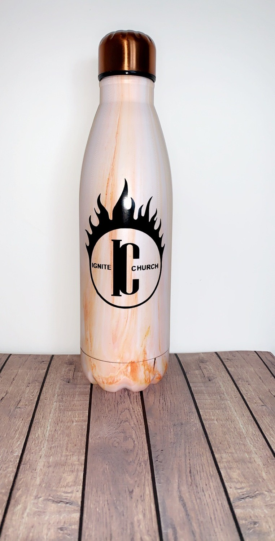 Orange Marble Ignite Water Bottle