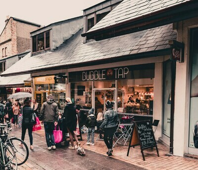Bubble Tap (waffles) -  walk-through to Lion Yard from St Andrews street