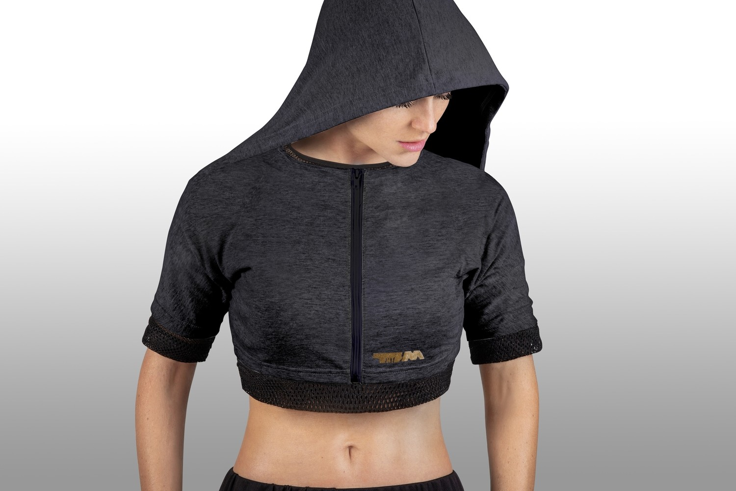 2xME female hoodie anthracite 2in1