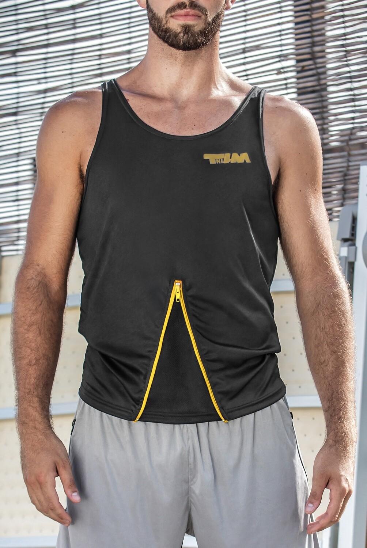SMART top with zip grey-yellow