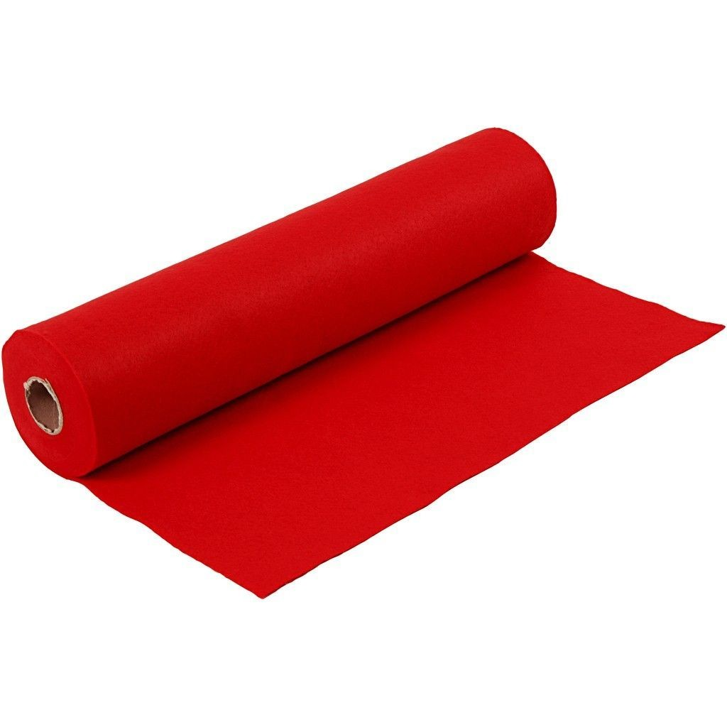 Felt - Bright Red (FULL 5 METRE ROLL) W:45cm, thickness 1,5 mm, 180-200 g/m2