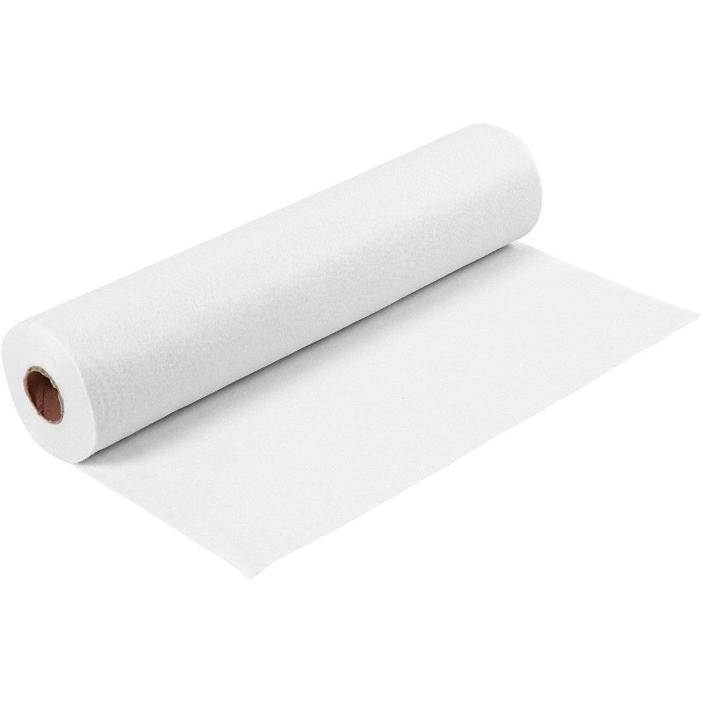 Felt - White (FULL 5 METRE ROLL) W:45cm, thickness 1,5 mm, 180-200 g/m2