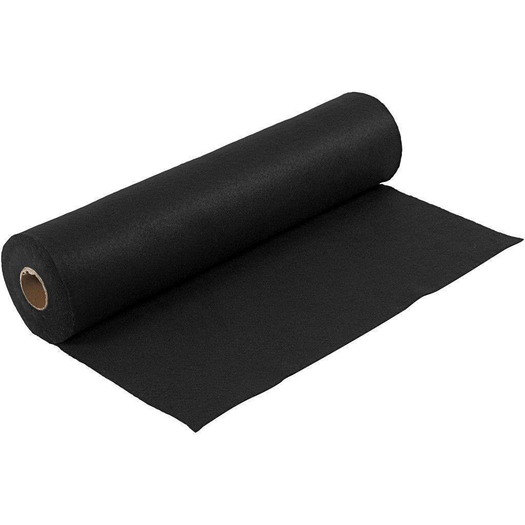 Felt - Black (FULL 5 METRE ROLL) W:45cm, thickness 1,5 mm, 180-200 g/m2
