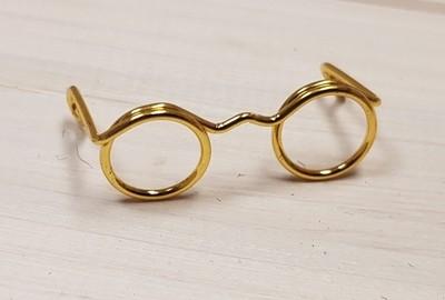 Novelty Glasses, W: 25 mm, inner hole size 9 mm, gold, 10pcs
