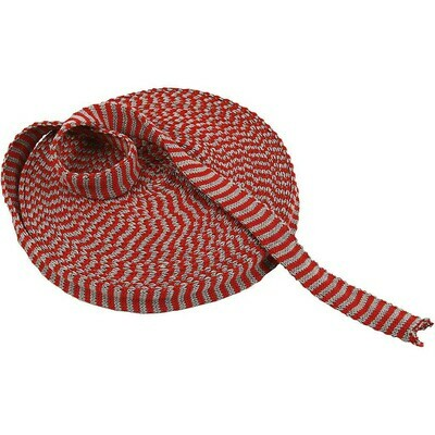 Knitted Tube. 22 mm. Red/Grey 2 mtr length