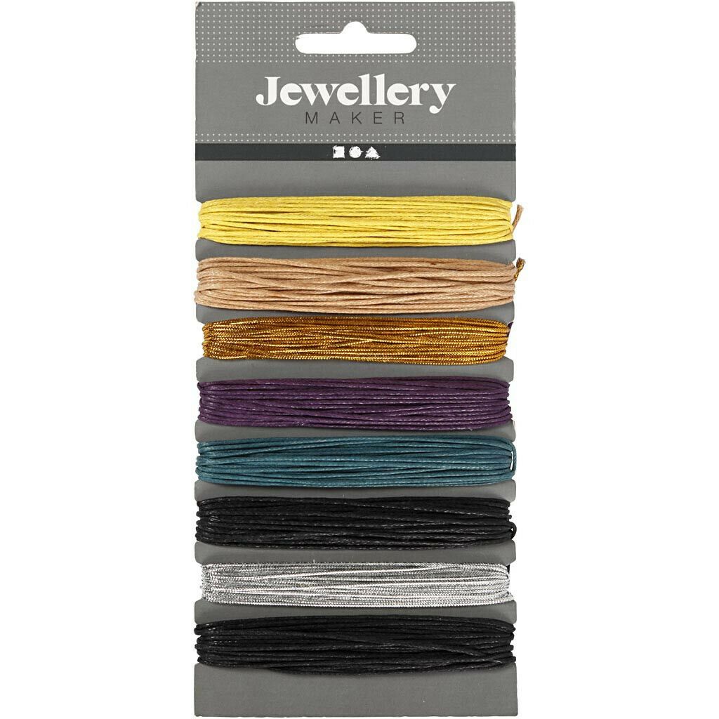 Waxed Cotton Cord, thickness 1 mm, asstd. colours, 8x5m
