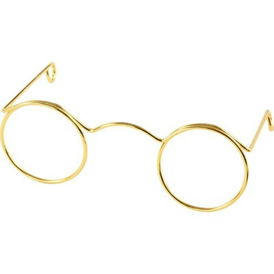 Novelty Glasses, W: 60 mm, inner hole size 21 mm, gold, 10pcs