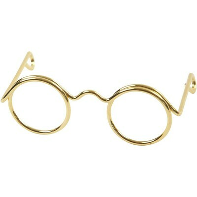 Novelty Glasses, W: 35 mm, inner hole size 13 mm, gold, 10pcs