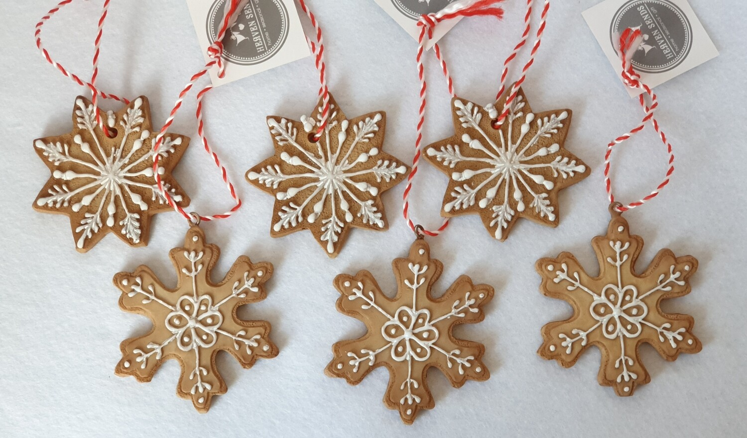 Christmas 'Cookie' three decorations. Set of 6
