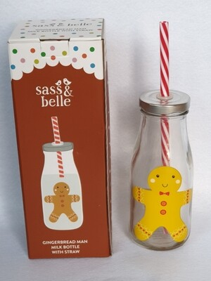Christmas mini milk bottle with straw - Gingerbread man