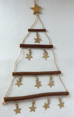 Wooden hanging Christmas tree - Gold Stars- Sass & Belle